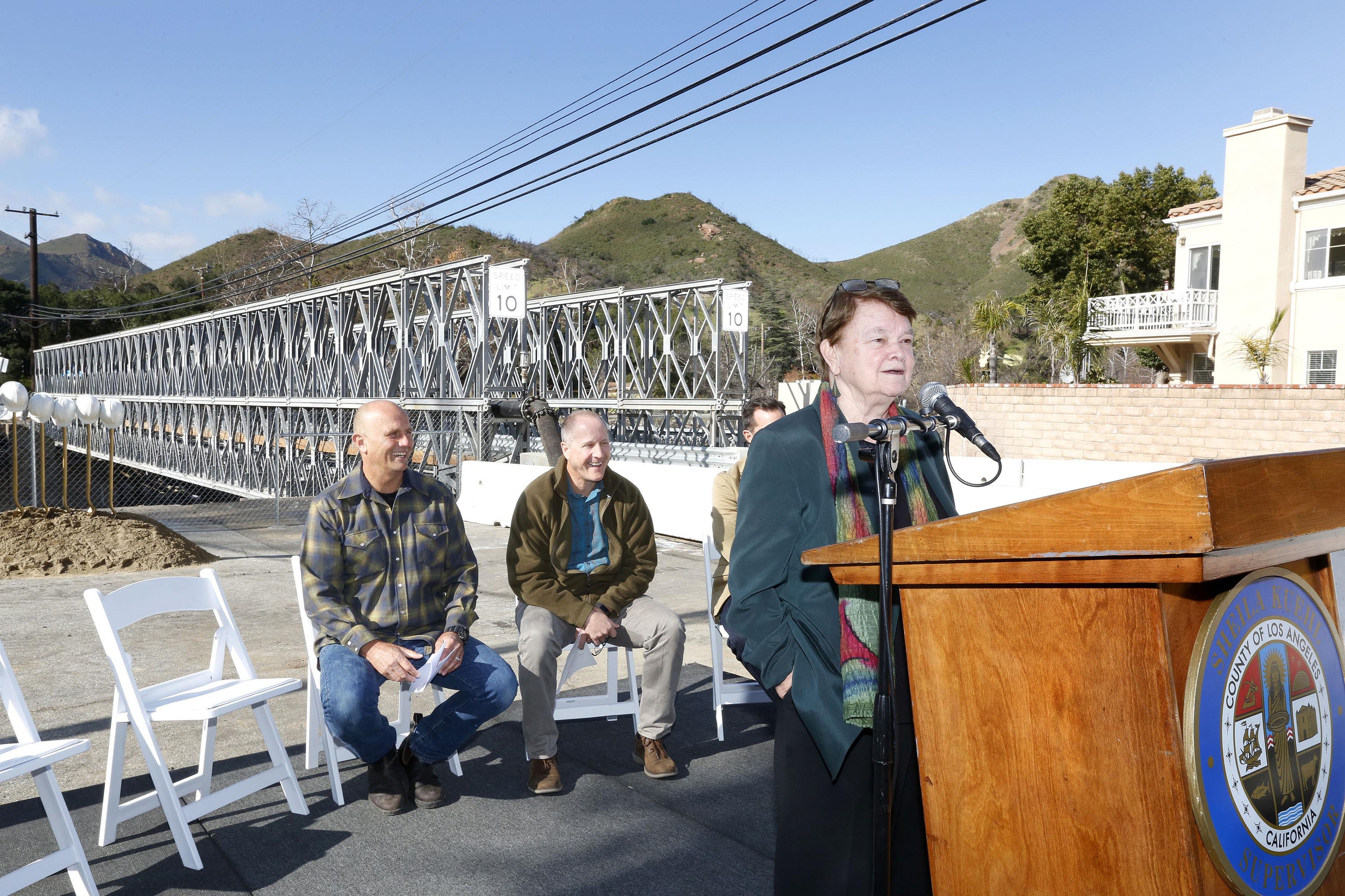 District 3 – Supervisor Sheila Kuehl<br> <b>Jan. 11, 2020 – Mulholland Bridge Groundbreaking. </b><br> <i>Photo by Aurelia Ventura / For the Board of Supervisors</i>