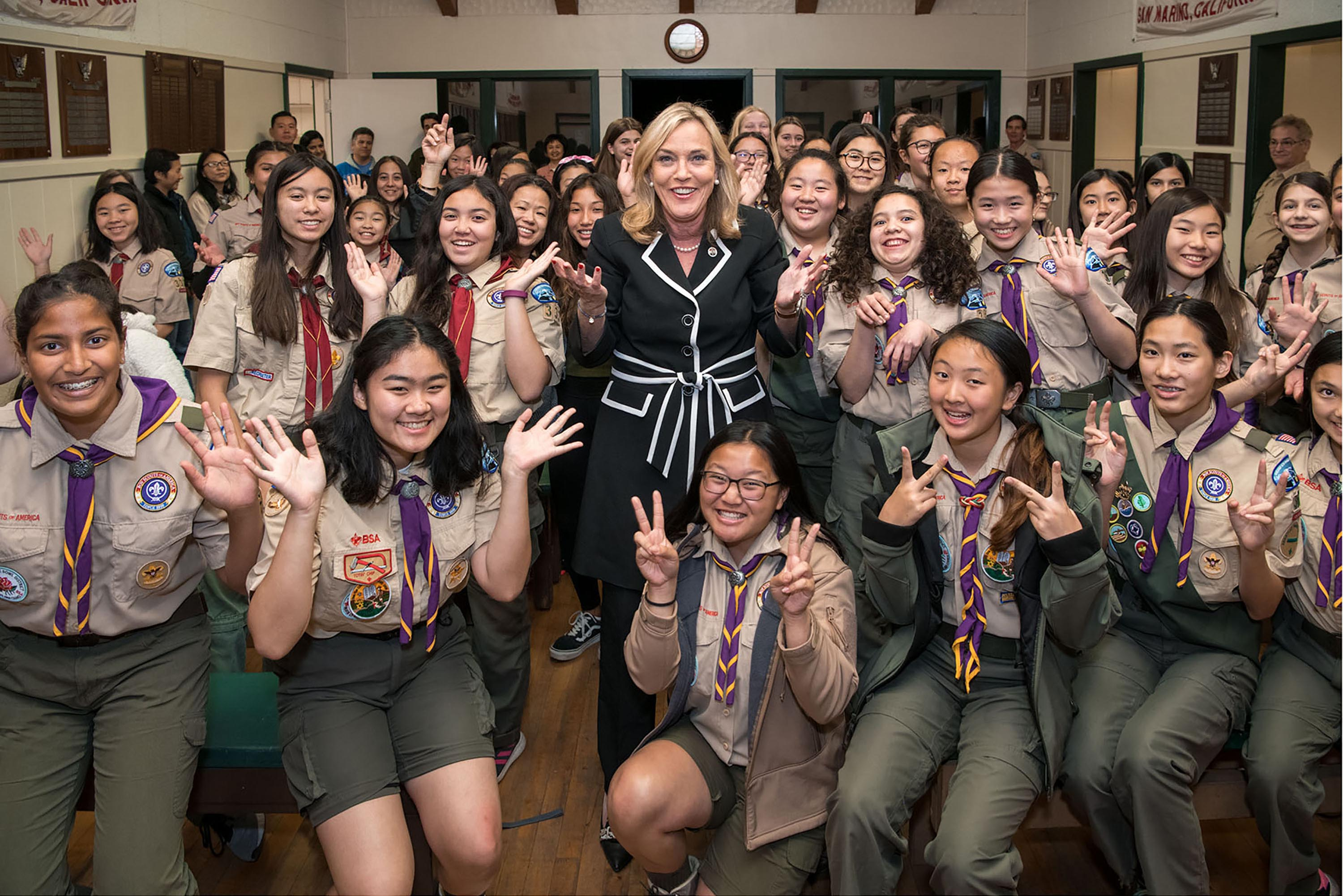 District 5 – Supervisor Kathryn Barger<br> <b>Feb. 19, 2020 – Boy Scouts of BSA Girls Troop 360. </b><br> <i>Photo by Michael Owen Baker / For the Board of Supervisors</i>