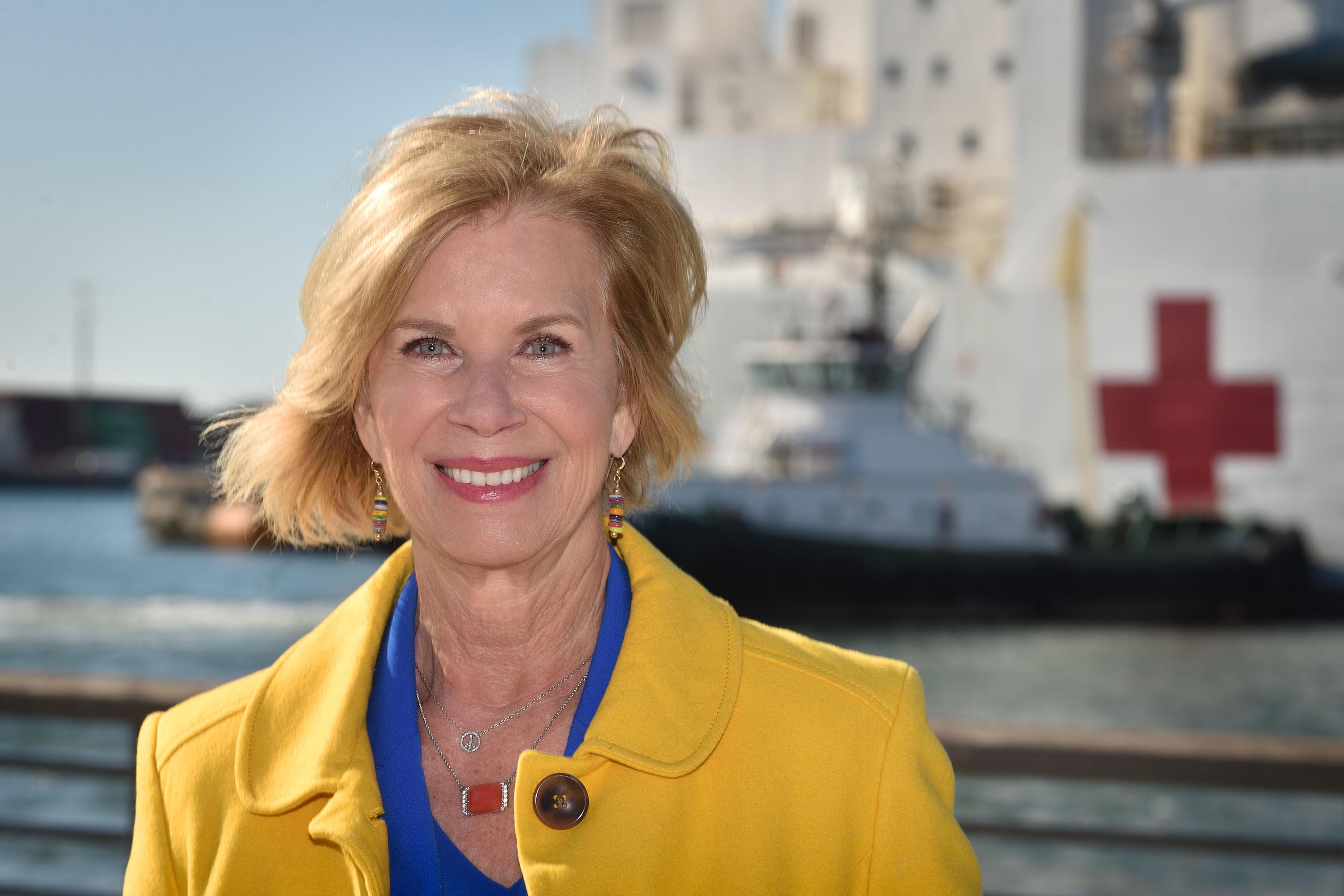 District 4 – Supervisor Janice Hahn<br> <b>March 27, 2020 – Arrival of the USNS Mercy in San Pedro. </b><br> <i>Photo by Steven Georges / For the Board of Supervisors</i>