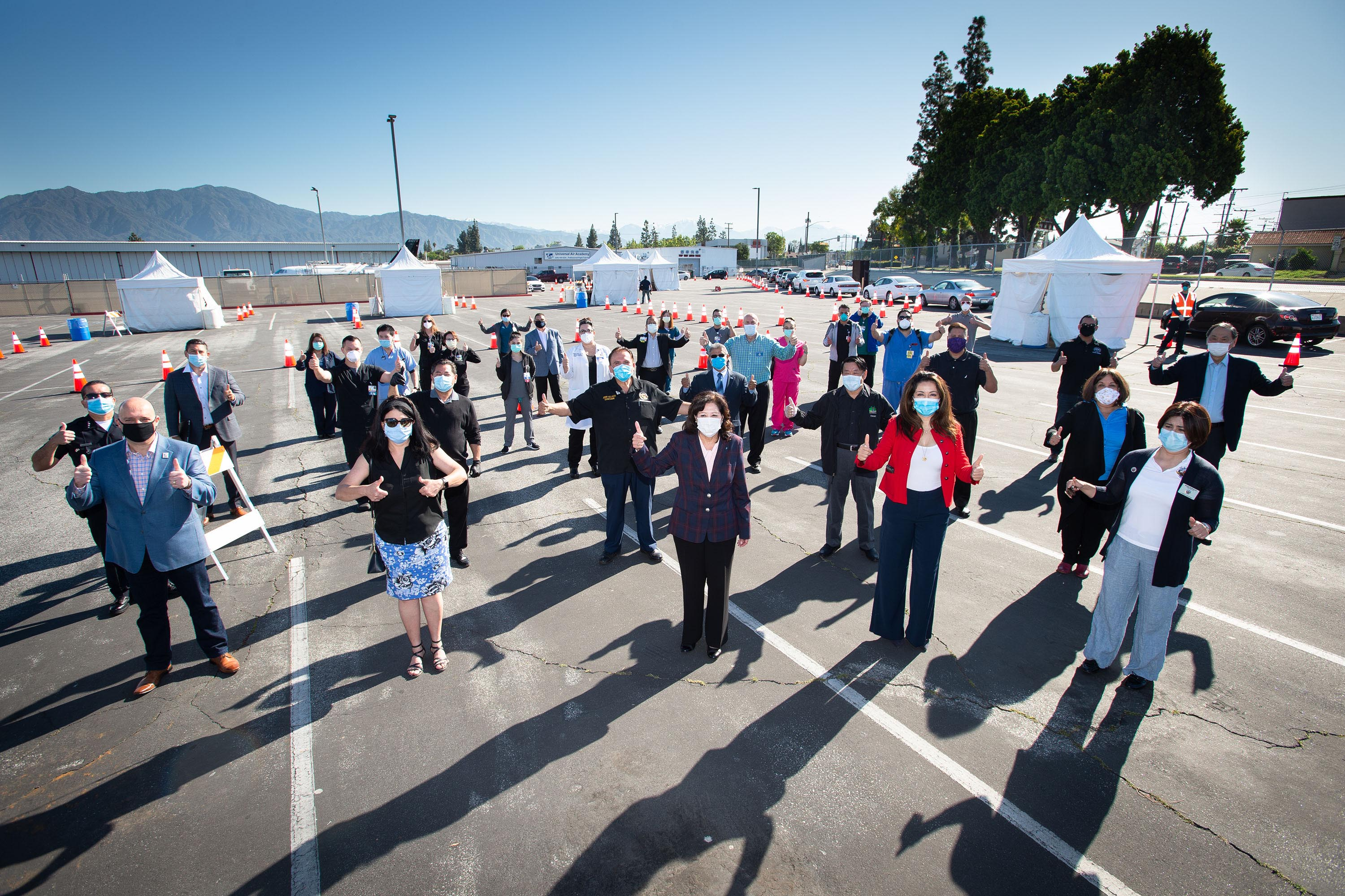 District 1 – Supervisor Hilda L. Solis<br> <b>April 15, 2020 - South El Monte COVID-19 test site opening. </b><br> <i>Photo by Bryan Chan / Board of Supervisors</i>