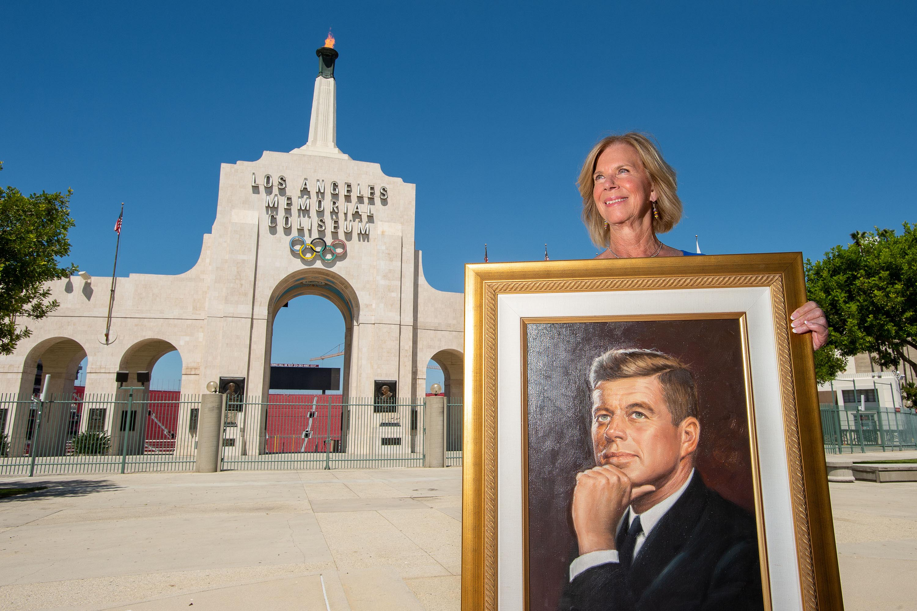 District 4 – Supervisor Janice Hahn<br> <b>July 15, 2020 – LA Memorial Coliseum flame lighting in honor of President John F. Kennedy. </b><br> <i>Photo by Bryan Chan / Board of Supervisors</i>