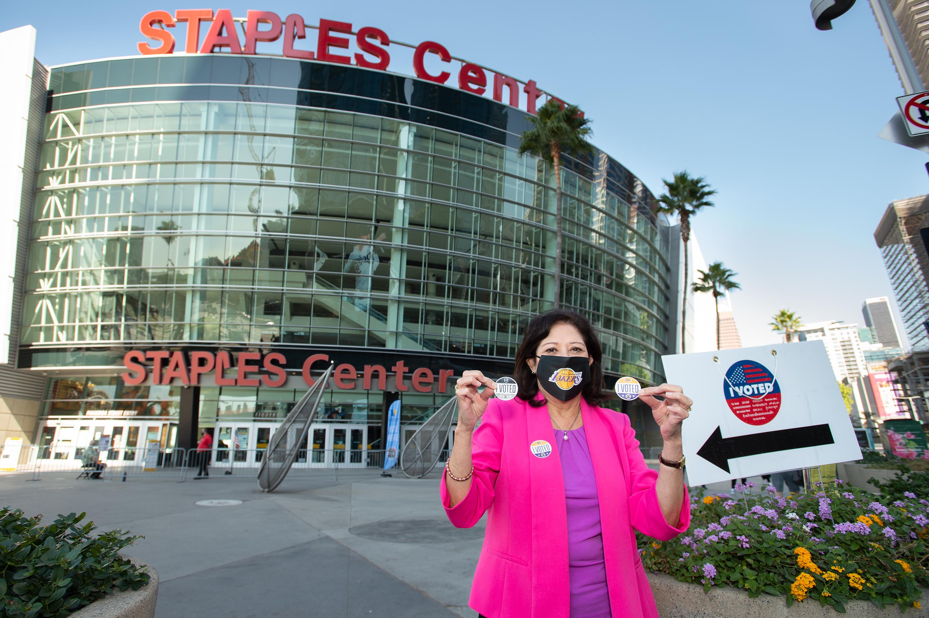 District 1 – Supervisor Hilda L. Solis<br>  <b>Oct. 30, 2020 - Staples Center voting station.</b><br><i>Photo by Bryan Chan / Board of Supervisors</i>