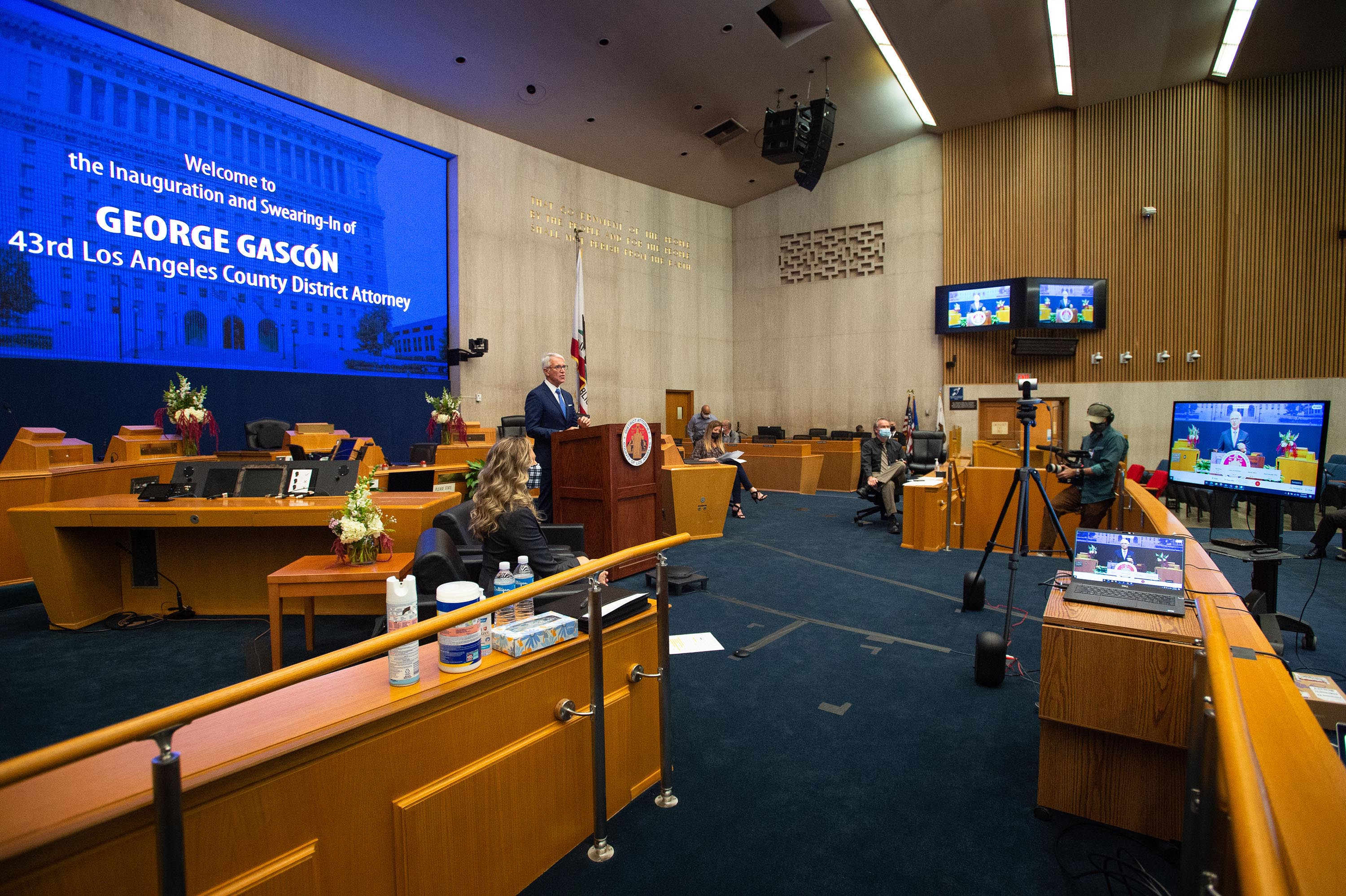 LA County virtual oath for new DA George Gascon <br>  <b>Dec. 7, 2020 – Virtual oath of office for District Attorney George Gascón</b><br>   <i>Photo by Bryan Chan / Board of Supervisors</i>
